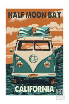 Half Moon Bay, California - VW Van Art Print at Art.com