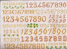 All size numbers - free cross stitch patterns crochet knitting amigurumi Cross Stitch Alphabet Patterns, Cross Stitch Designs, Stitch Patterns, Cross Stitch Numbers, Cross Stitch Letters, Alphabet And Numbers, Afghan Crochet Patterns, Cross Stitching, Hand Embroidery