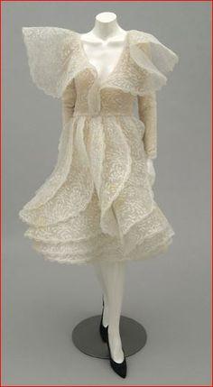 Pierre Cardin, Ecru Lace Dress, French, c. 1987.