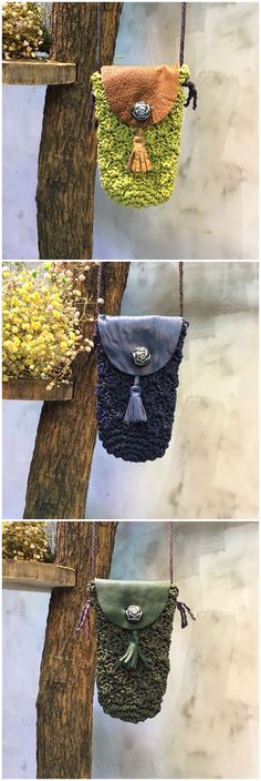 Mori Girl Leather Matching Button Fringe Tassel Knit Bag Cellphone Pouch