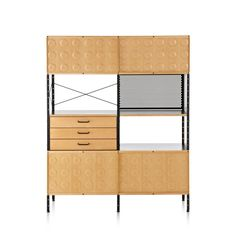 Eames Storage Unit, 4 × 2. A metal and wood shelving unit with cabinets and drawers, designed by Charles & Ray Eames for Herman Miller.
