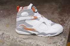 Air Jordan 8 White/Orange Blaze-Silver