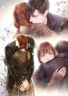 Romantic Anime Couples, Romantic Manga, Cute Anime Couples, Anime Couples Drawings, Anime Couples Manga, Cartoon Drawings, Anime Boys, Cute Couple Gifts, Cute Couple Art