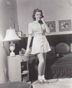 Judy Garland talking on the phone at home circa. 1940