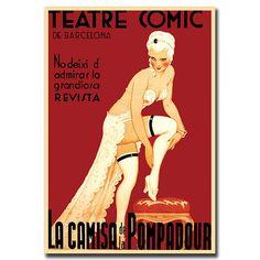 Teatre Comic de Barcelona-Framed 18x24 Canvas Art