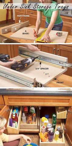 DIY Pull Out Kitchen Sink Storage Trays - DIY Kitchen Storage Ideas - I need to do this in all my cabinets. Kitchen Sink Storage, Under Sink Storage, Kitchen Redo, New Kitchen, Kitchen Ideas, Wall Storage, Kitchen Island, Kitchen Cabinets, Kitchen Sinks