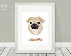 Pug  Dog breeds  Print art  Nursery wall art  by DoradaPrintables, $5.00