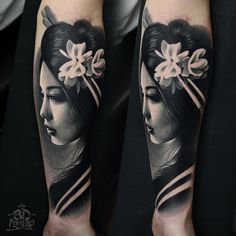 beautiful geisha tattoo done by AD Pancho
