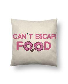 Cojín Piel de Melocotón 45 x 45 cm I can't escape food - tunetoo #cojines #decorativos #ideas #salon #modernos #divertidos #estampados #personalizados