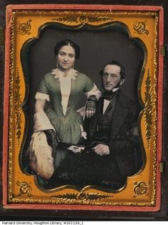 Man and woman holding a fan. Date: between 1840 and 1860. Daguerreotype Hand Colored / Case cover material: thermo plastic. Photographer unidentified.: