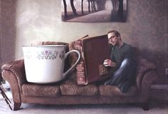 the joy of reading - Joel Robinson. a cup of tea large enough? a book long enough? MAAAAAAAAAAAYBE on the tea. try again with the book. I Love Books, Good Books, Big Books, Reading Books, Creative Photography, Art Photography, Great Novels, Good Readers, Surrealism Photography
