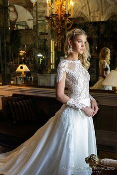 alessandra rinaudo 2017 bridal long sleeves round neck lace heavily embellished bodice drop waist elegant a  line wedding dress lace back long train (brunilde) zv