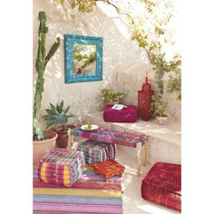 Banc en acacia et saris indien multicolore L 122 cm