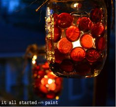 mason jar candlelight - Glass votives in jars, flat glass marbles in between, Ny color - All Started With Paint