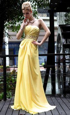 Dresswe.com SUPPLIES Brilliant A-Line Strapless Floor-Length Empire Beadings Evening/Prom Dress Evening Dresses 2014