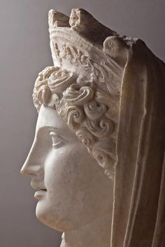 "Head of colossal statue of Demeter, so called ""Demeter Sagalassos"" -  marble Roman period, circa 110 – 150 AD, at the Museum of Burdur, Turkey"
