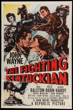 FIGHTING KENTUCKIAN -R55- original 27x41 Movie Poster - JOHN WAYNE, OLIVER HARDY