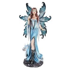 LARGE-24-H-NIGHTFALL-WINTER-FAIRY-WITH-WHITE-DRAGON-STATUE-FAERY