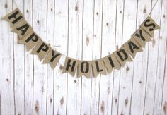 Happy Holidays Burlap Banner / Christmas Sign / by WootandWooks