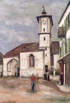 Church by Maurice Utrillo Handmade oil painting reproduction on canvas for sale,We can offer Framed art,Wall Art,Gallery Wrap and Stretched Canvas,Choose from multiple sizes and frames at discount price. Kitsch, Maurice Utrillo, Art Transportation, Monuments, Building Art, Oil Painting Reproductions, Traditional Paintings, Painting Process, Gustav Klimt