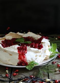 Pomegranate pavlova. This stunning dessert is perfect for New Years and super simple to make.