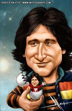 Mork/Robin Williams Maisie Williams, Robin Williams, Funny Caricatures, Celebrity Caricatures, Funny Faces, Cartoon Faces, Funny Art, Funny Cartoons, Mork & Mindy