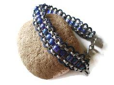 Beaded Violet Purple Dog Collar Elegant Chain by k9knitknots