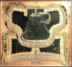 Queen Elizabeth I. saddle-1574-'On which she rode on her state visit to  Bristol 1574-Afterwards presented to an ancestor of the KINGTON family.'
