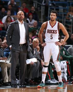 Head coach Jason Kidd and Michael Carter-Williams #5 of the Milwaukee Bucks during the game against the San Antonio Spurs on March 18, 2015 at BMO Harris Bradley Center in Milwaukee, Wisconsin. (Photo by Gary Dineen/NBAE via Getty Images)