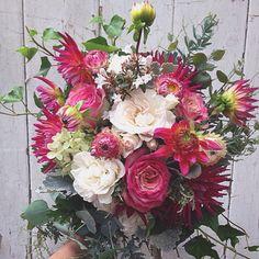 Dahlias, strawflower,roses.