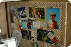 33 Shades of Green: Fabric Covered Bulletin Board