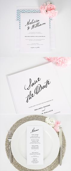 Modern calligraphy stationery set from Shine Wedding Invitations. http://www.shineweddinginvitations.com/wedding-invitations/modern-calligraphy-wedding-invitations