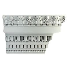"10""(H) x 6-1/4""(Proj.) - Repeat: 4-7/8"" - Colonial Style Crown Molding Design - [Plaster Material]"