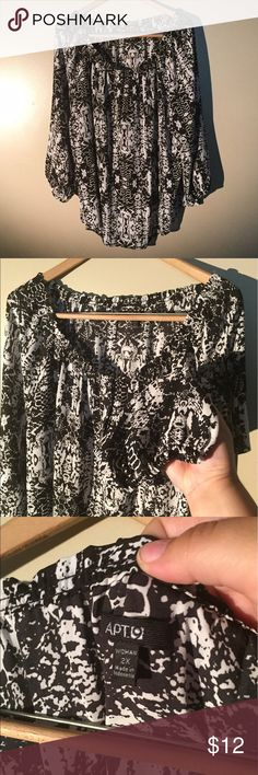 Light black and white blouse White and silky black and white patterned blouse. Has elastic neckline and elastic around the ends of each sleeve. Great to dress up or down Apt. 9 Tops Blouses