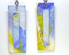 Painted Earrings, Watercolor Earrings, Paper Anniversary Gift, First Anniversary Gift