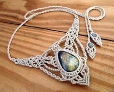 Labradorite macrame necklace healing jewelry micro by SelinofosArt
