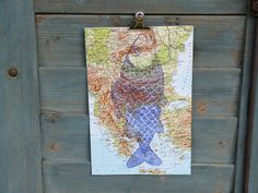Linoldruck - Linoldruck Fisch auf Landkarte, Atlas - ein Designerstück von Andiva bei DaWanda