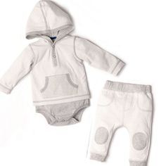 The cutest outfit for your little baby boy! Outfit includes Milk Double Knit Hooded Two-Fer Bodysuit and Milk Striped Pull on Pants