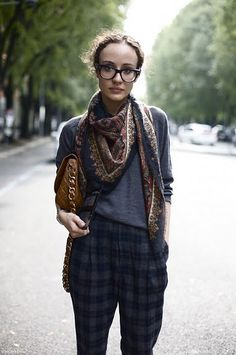 plaid pants + ethnic scarf + thick rimmed glasses