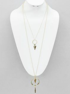 Layered Gold Chain Arrow and Feather Long Necklace Boho style layered gold chain long necklace with arrow heads dangling from hammered gold rings. Brown and b