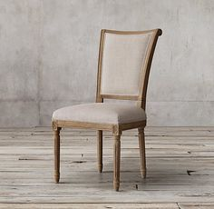 Vintage French Flare Back Fabric Side Chair