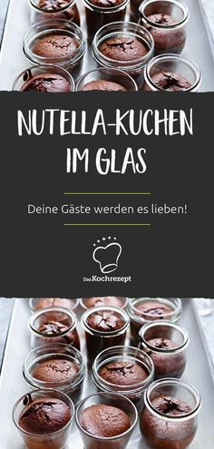 Nutella-Kuchen im Glas You get guests and everyone should have their own little dessert? Then Nutella cake in a glass is just the thing! Quick Healthy Desserts, Potluck Desserts, Summer Dessert Recipes, Dessert Cake Recipes, Fancy Desserts, Healthy Snacks, Stay Healthy, Healthy Recipes, Tastemade Dessert