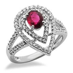 This 18k white gold ring features a lovely 0.74ct oval shape ruby in a 4 prong setting embraced by 2 rows of brilliant round cut diamonds. The color of the diamonds are G/H and the clarity is SI2/SI3.Different ring sizes may be available. Please inquire for details. $804.00