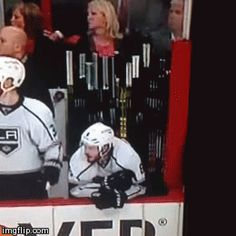 i dont know whether to laugh at his celly or the fact that he fell off the bench