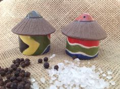 Small Salt & Pepper set - South African flag design South African Flag, Salt And Pepper Set, Flag Design, Handmade Pottery, Stuffed Peppers, Handmade Ceramic, Stuffed Pepper, Stuffed Sweet Peppers