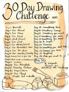 30 day drawing challenge - Google Search