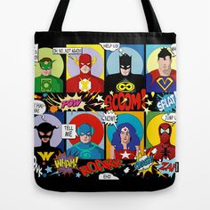 Superheroes Tote Bag by Chicca Besso - $22.00