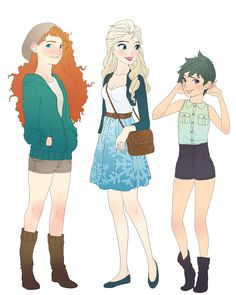 Old art. Merida, Elsa and Tooth in modern style!