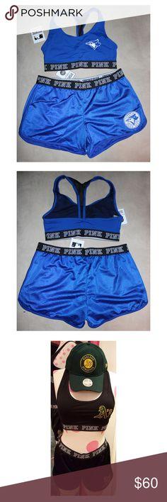 TORONTO BLUE JAYS MLB Baseball Sports Bra Shorts Cute TORONTO BLUE JAYS sports bra + mesh shorts matching set from Victoria's Secret PINK! PINK Victoria's Secret Shorts