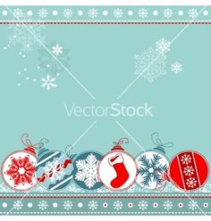 Blue christmas background with balls vector on VectorStock®